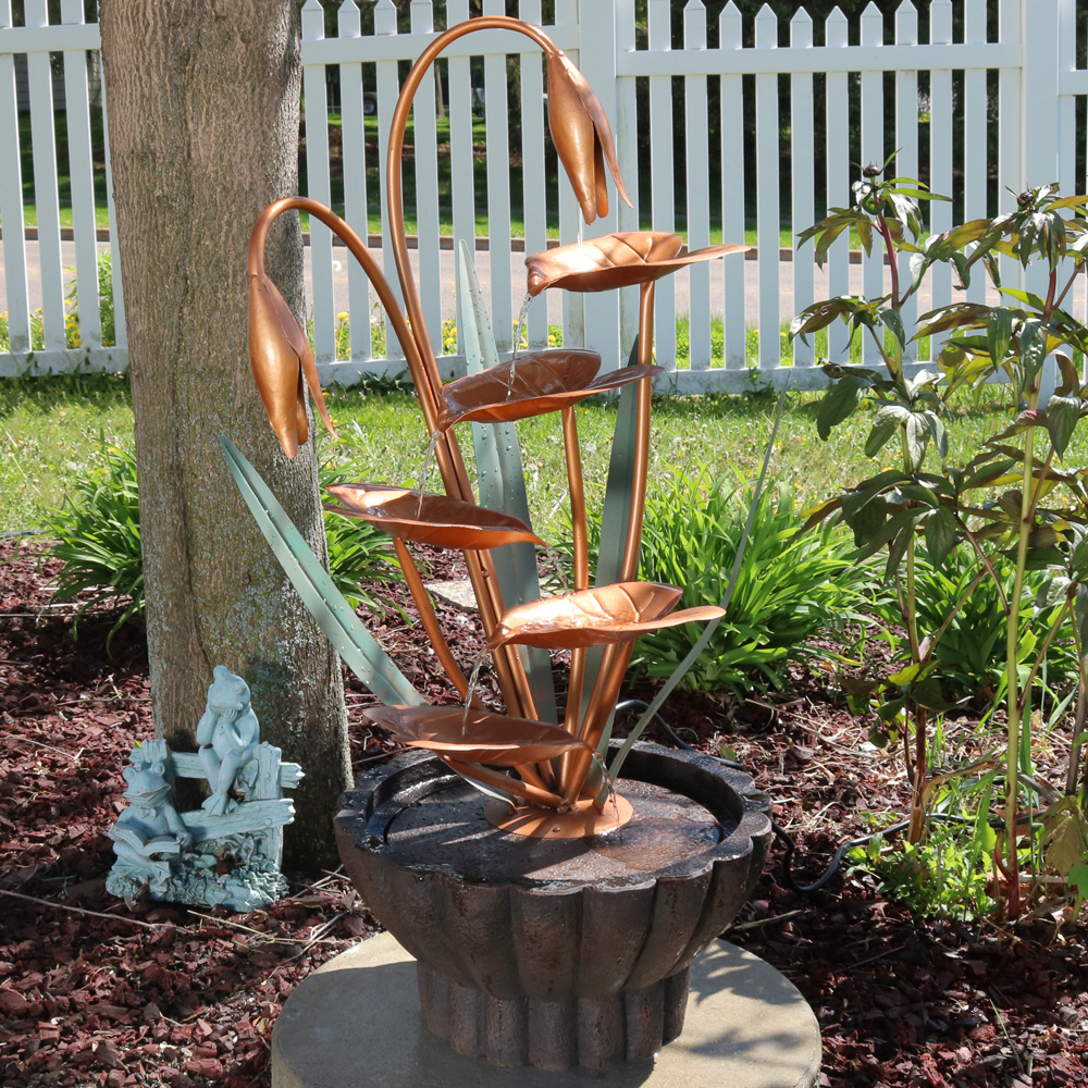Copper Flower Petals with Five Tier Leaves Outdoor Water Fountain