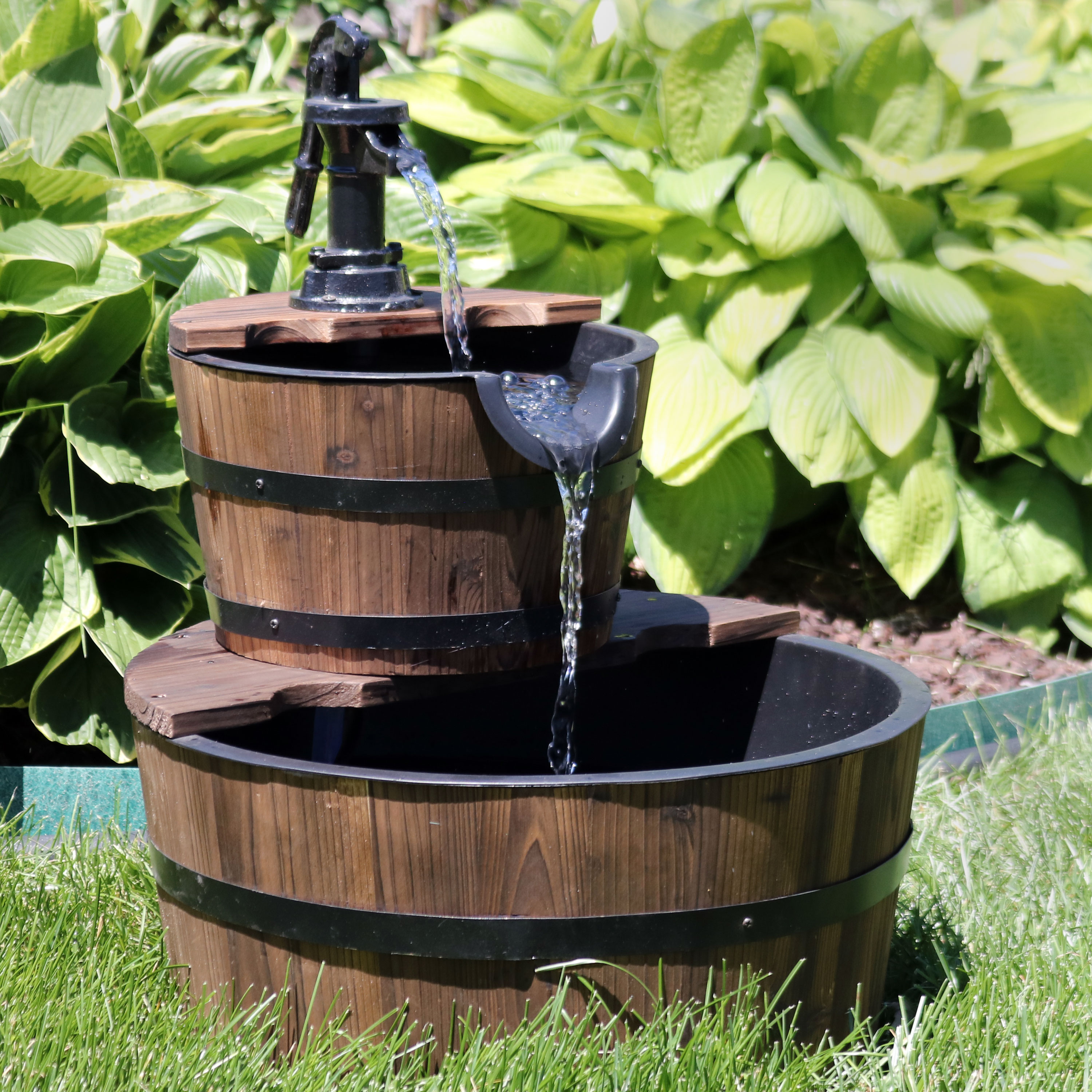 Country 2-Tier Wood Water Fountain