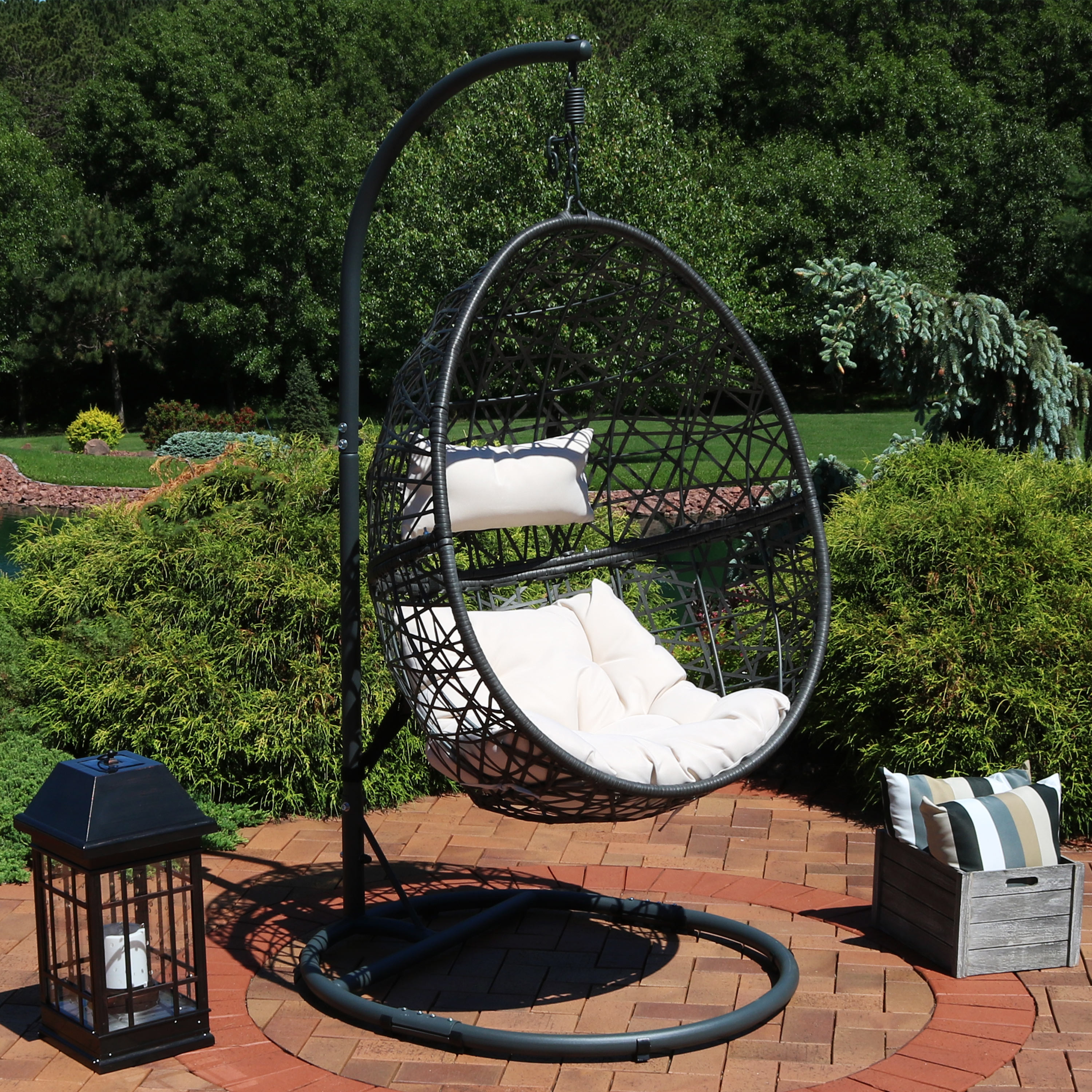 Caroline Hanging Egg Chair with Steel Stand