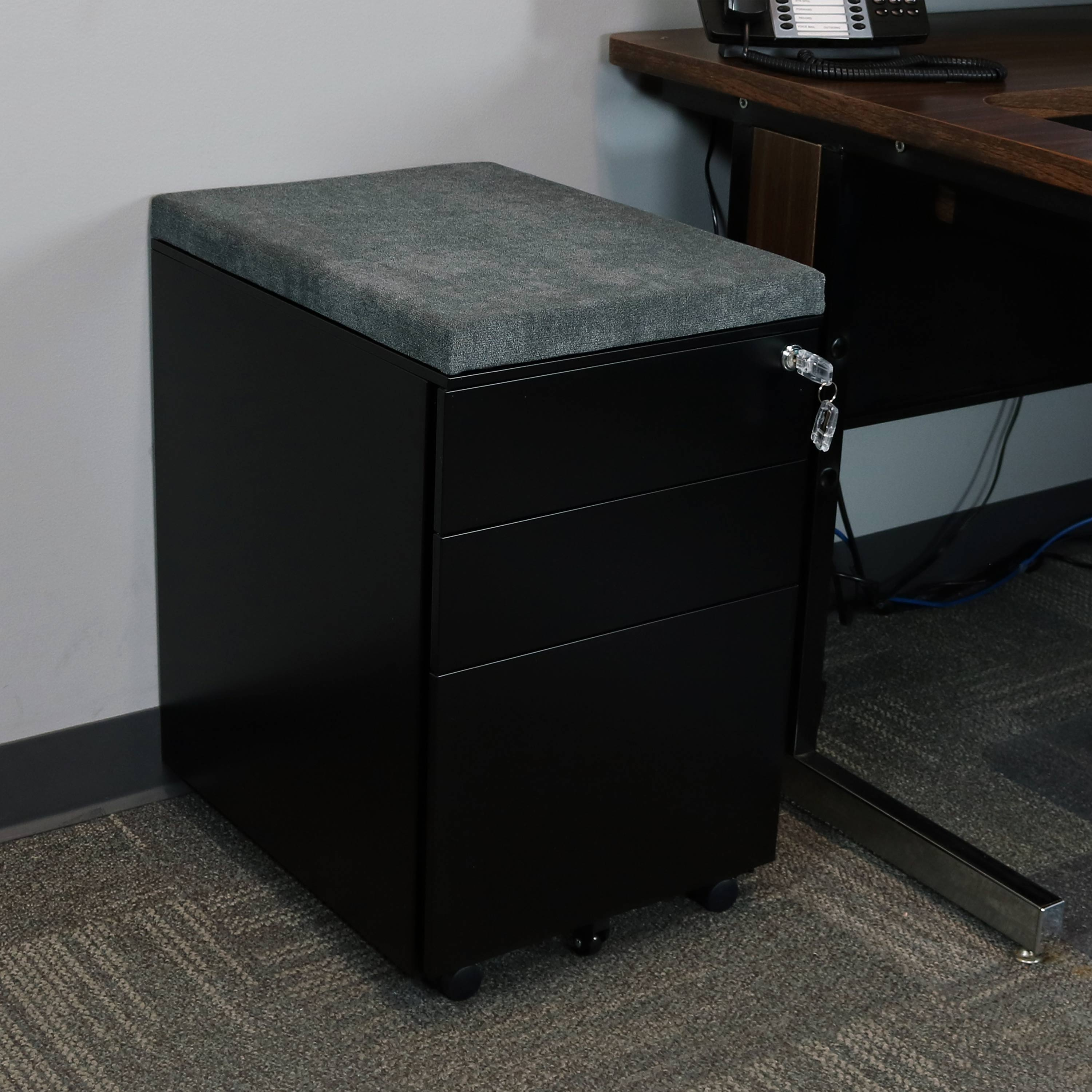 Black and Gray Mobile File Cabinet