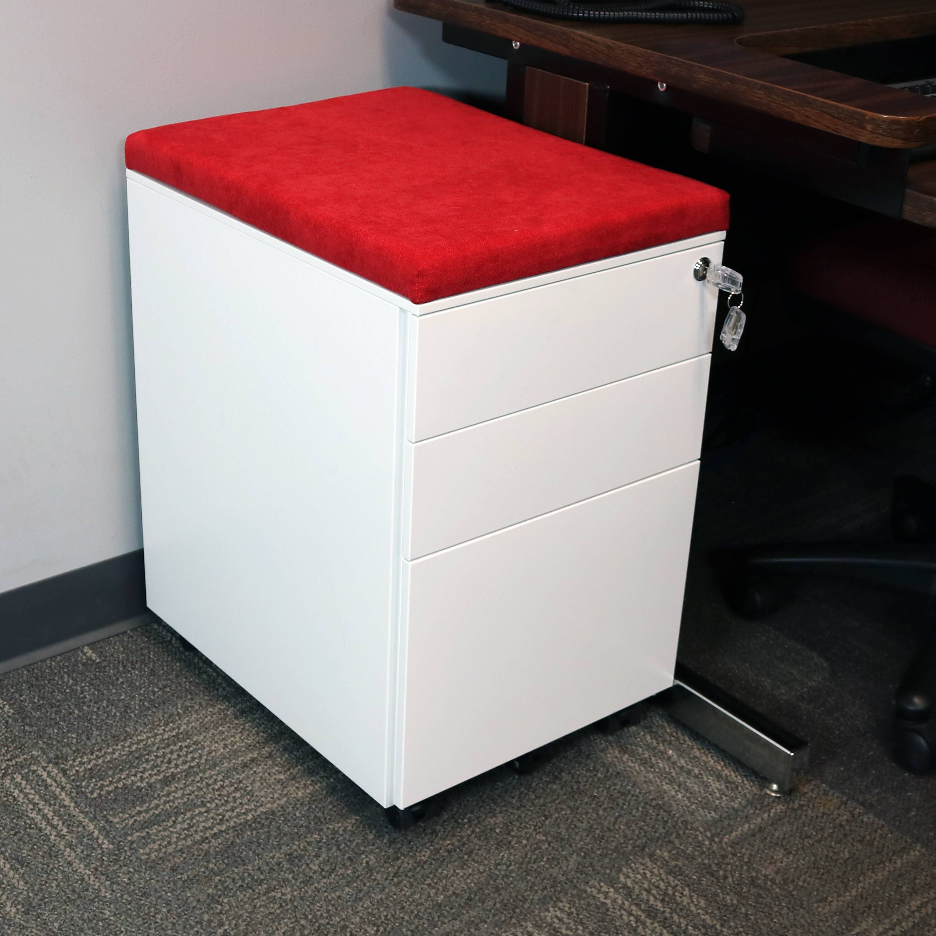 White and Red Mobile File Cabinet