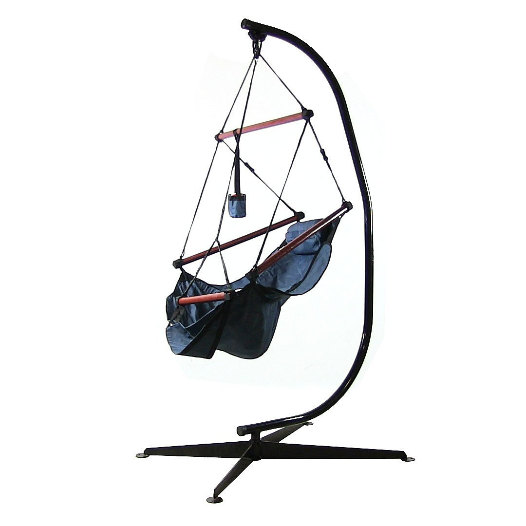 Sunnydaze Hanging Hammock Chair W Pillow Drink Holder Stand Combo Blue Picture 485