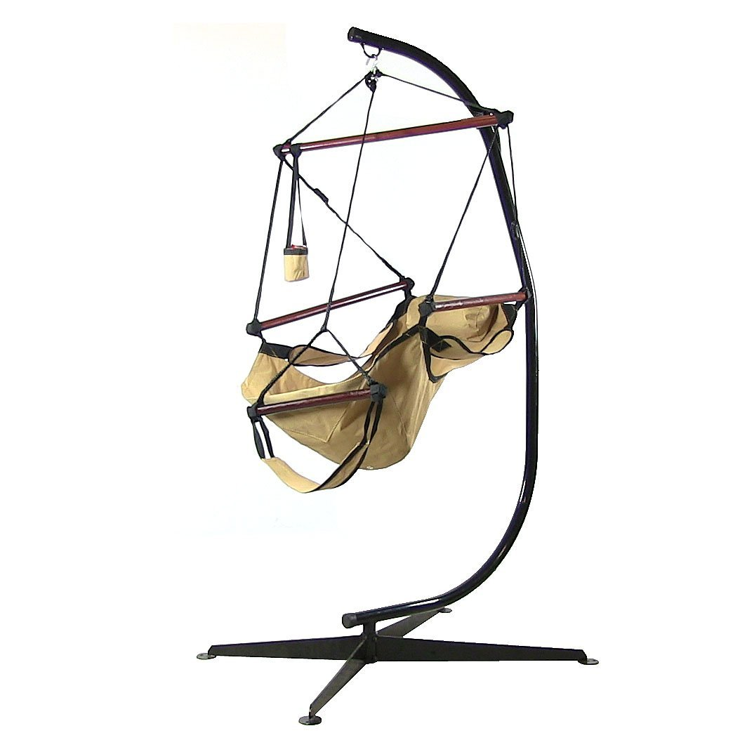 Sunnydaze Hanging Hammock Chair W Pillow Drink Holder Stand Combo Tan Picture 485