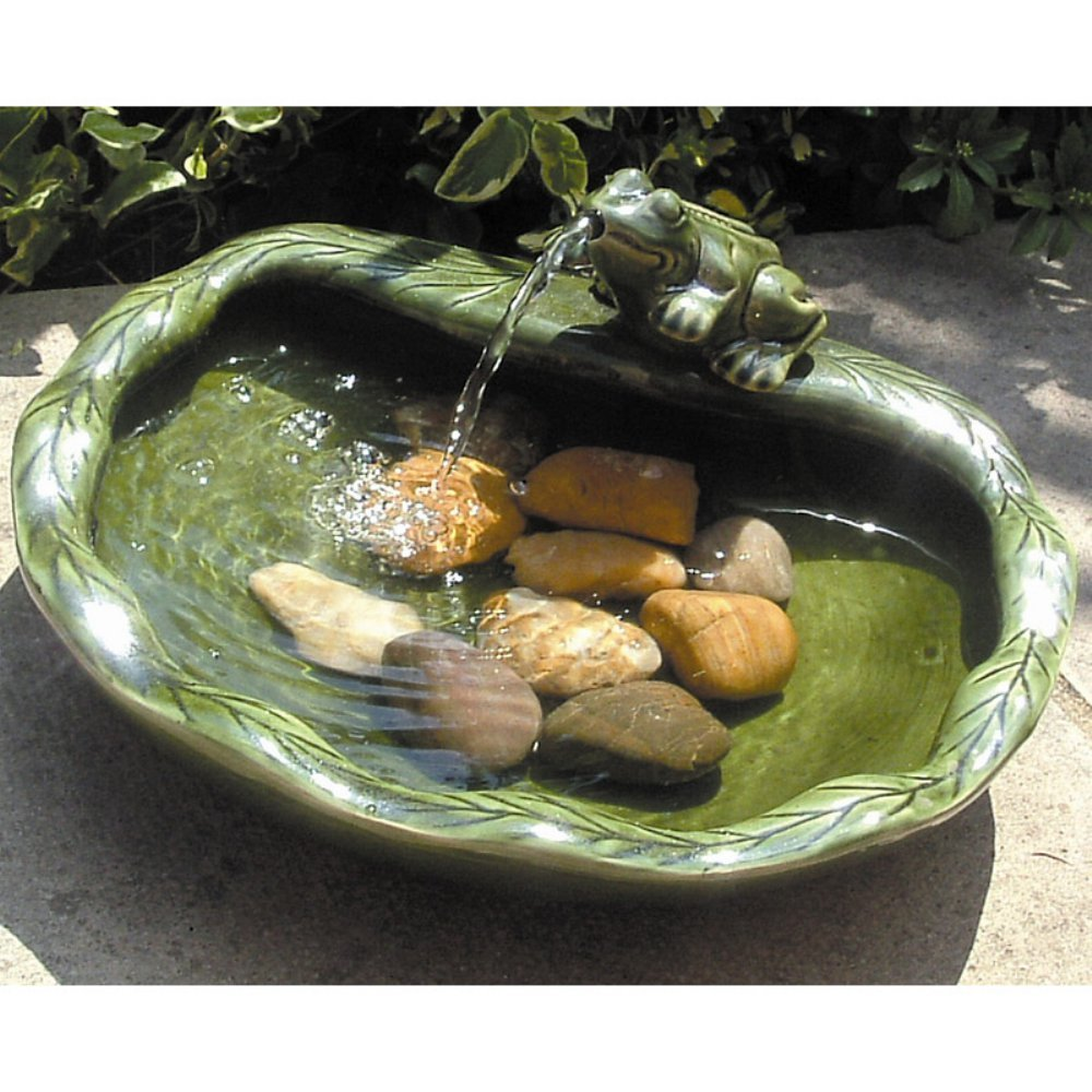 SmartSolar Ceramic Frog Solar Bird Bath Fountain Image 553