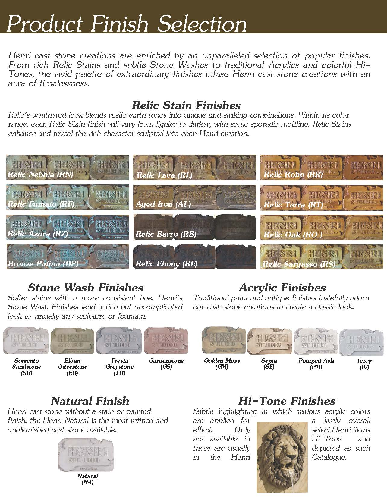 Henri Studios Fountains Color Choices For Your Fountain
