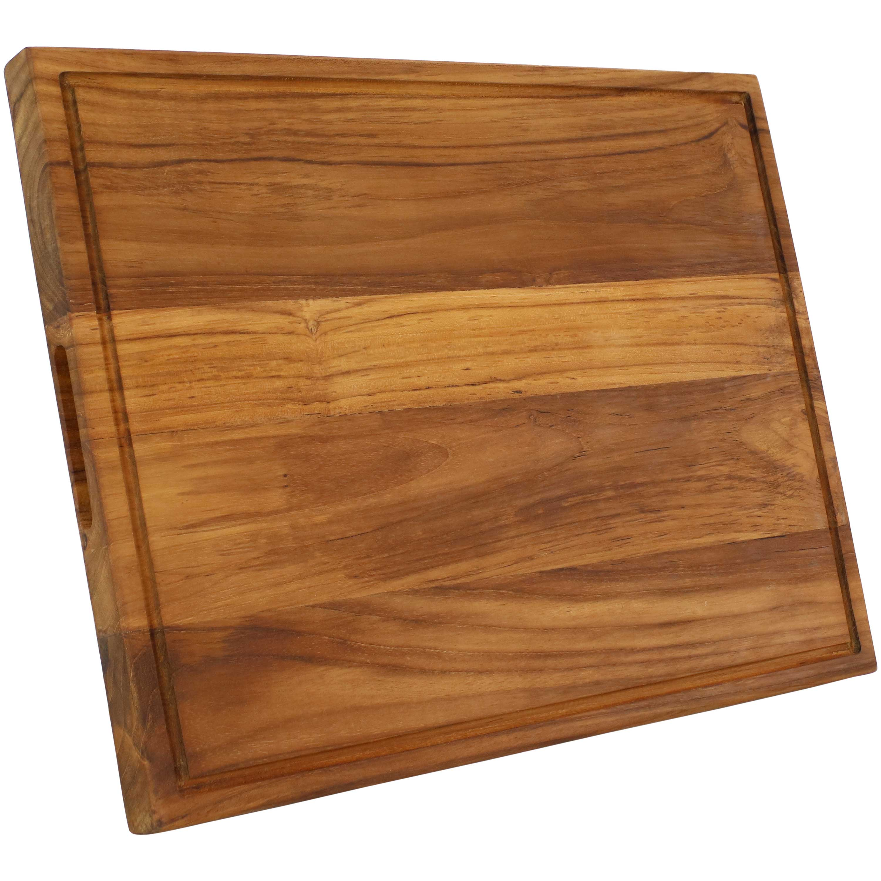 Sunnydaze Teak Wooden Cutting Board Cured With Beeswax Finish 20 Inch