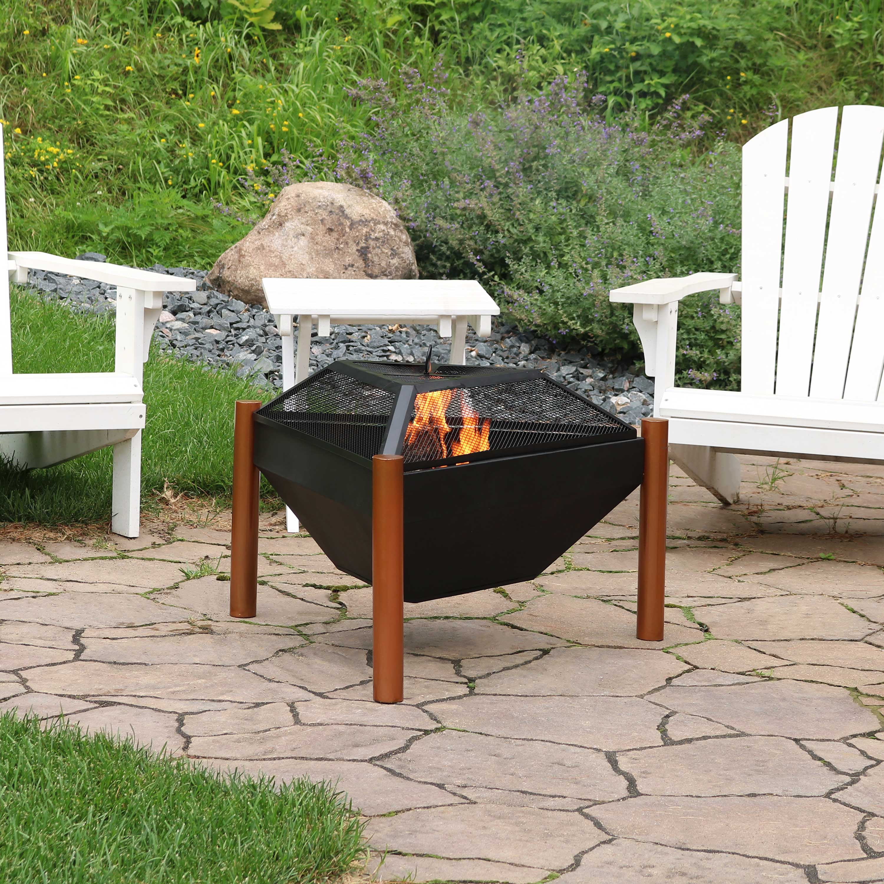 Sunnydaze Steel Outdoor Triangle Fire Pit and Side Table - 31-Inch