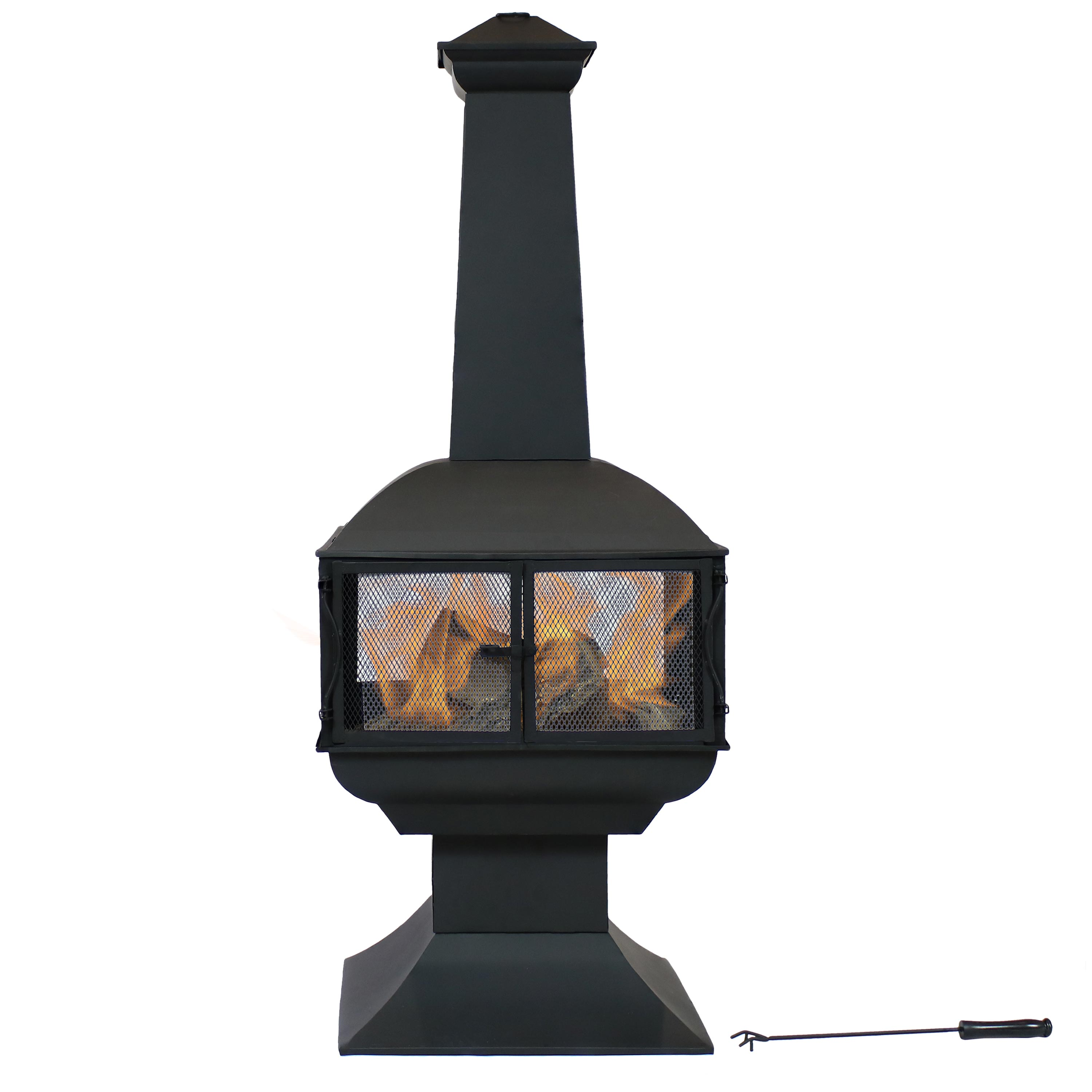 Sunnydaze Outdoor Wood Burning Fire Pit Chiminea - Black Steel Firepit with Log Grate and Poker - Metal Patio Fireplace with 360-Degree View - 57 Inch