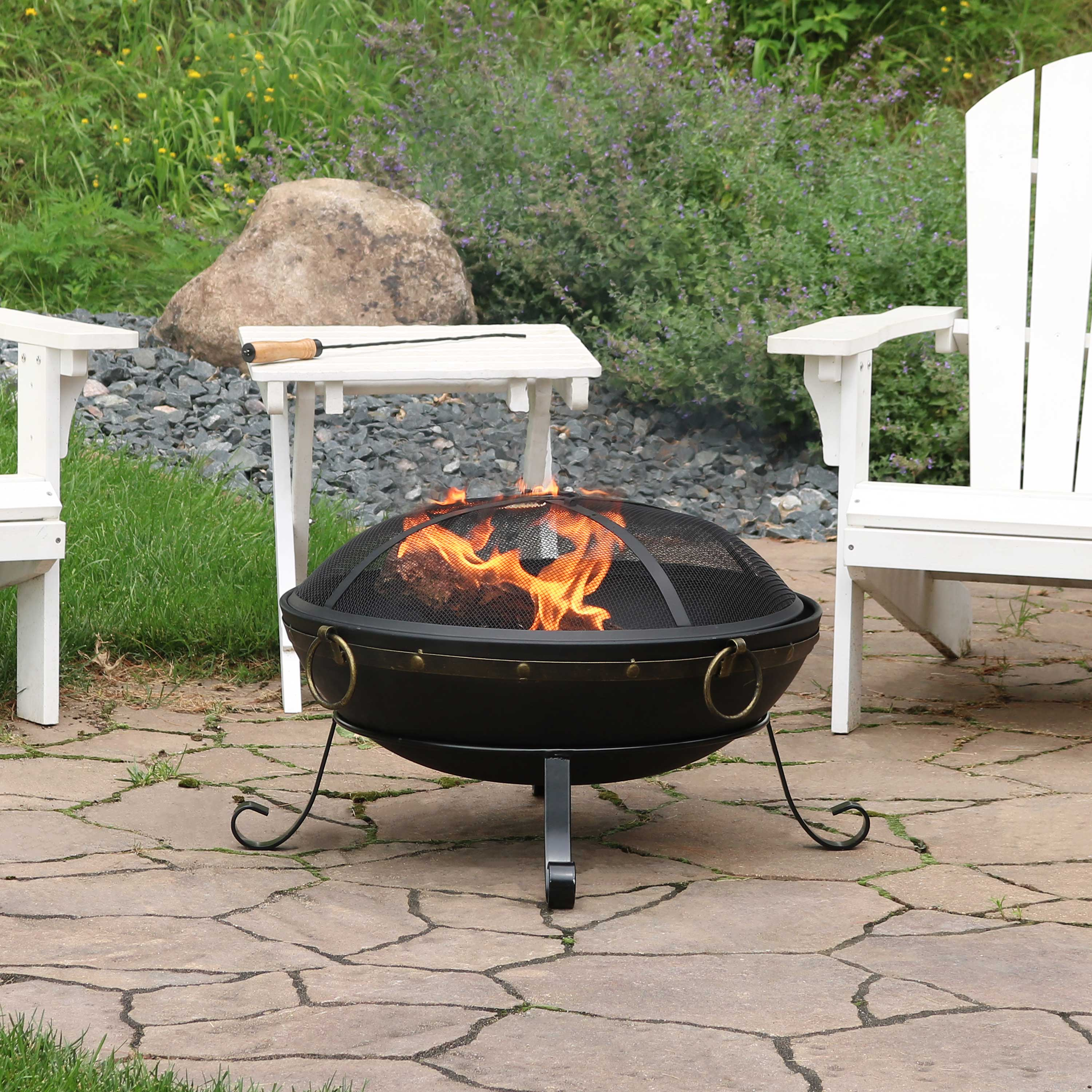 Sunnydaze 25-Inch Diameter Victorian Steel Outdoor Wood Burning Fire Bowl with Handles and Spark Screen - Outside Metal Backyard Bonfire Patio Fire Pit