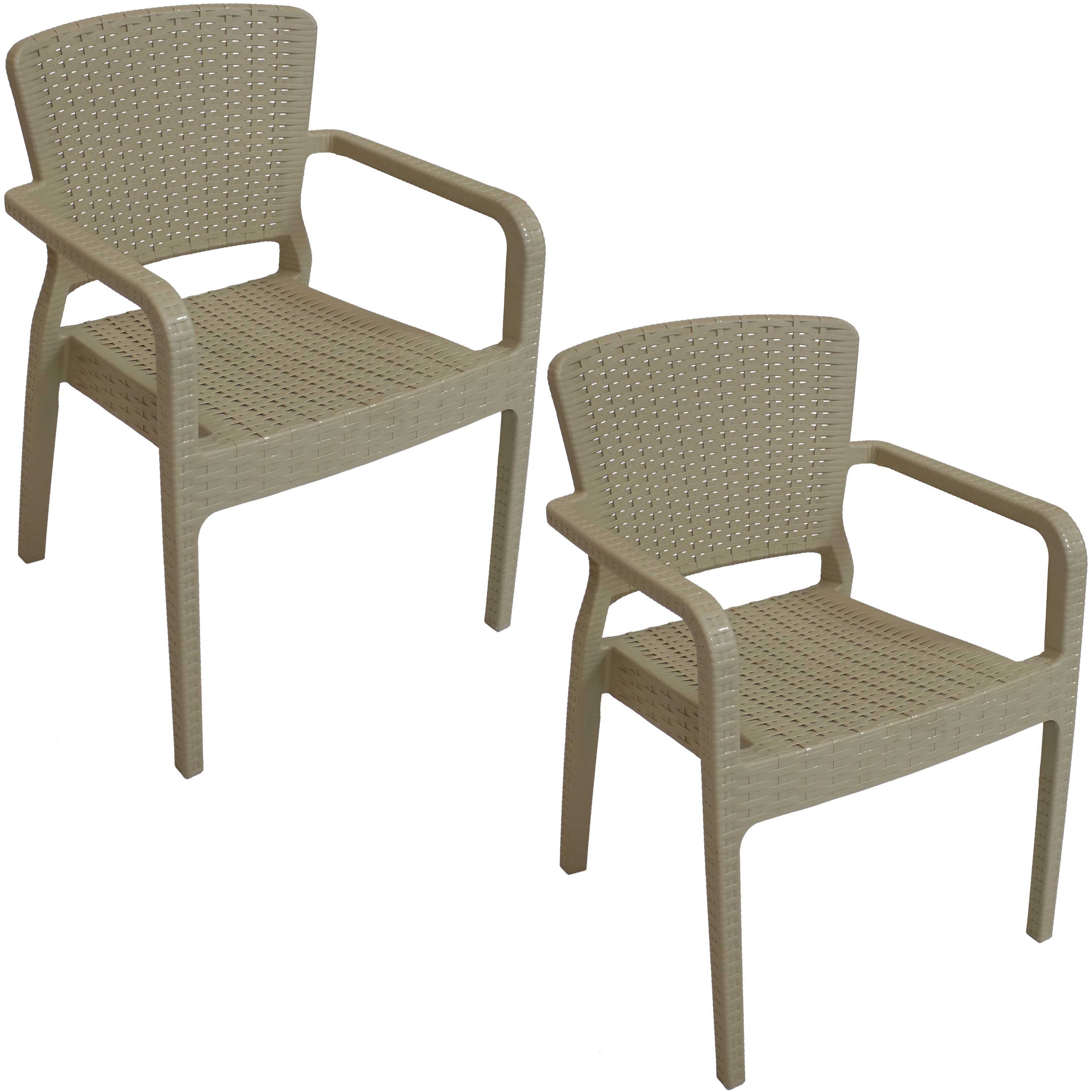 Details about Sunnydaze Segonia Plastic Stacking Armchair Set of 2 Indoor Outdoor Coffee