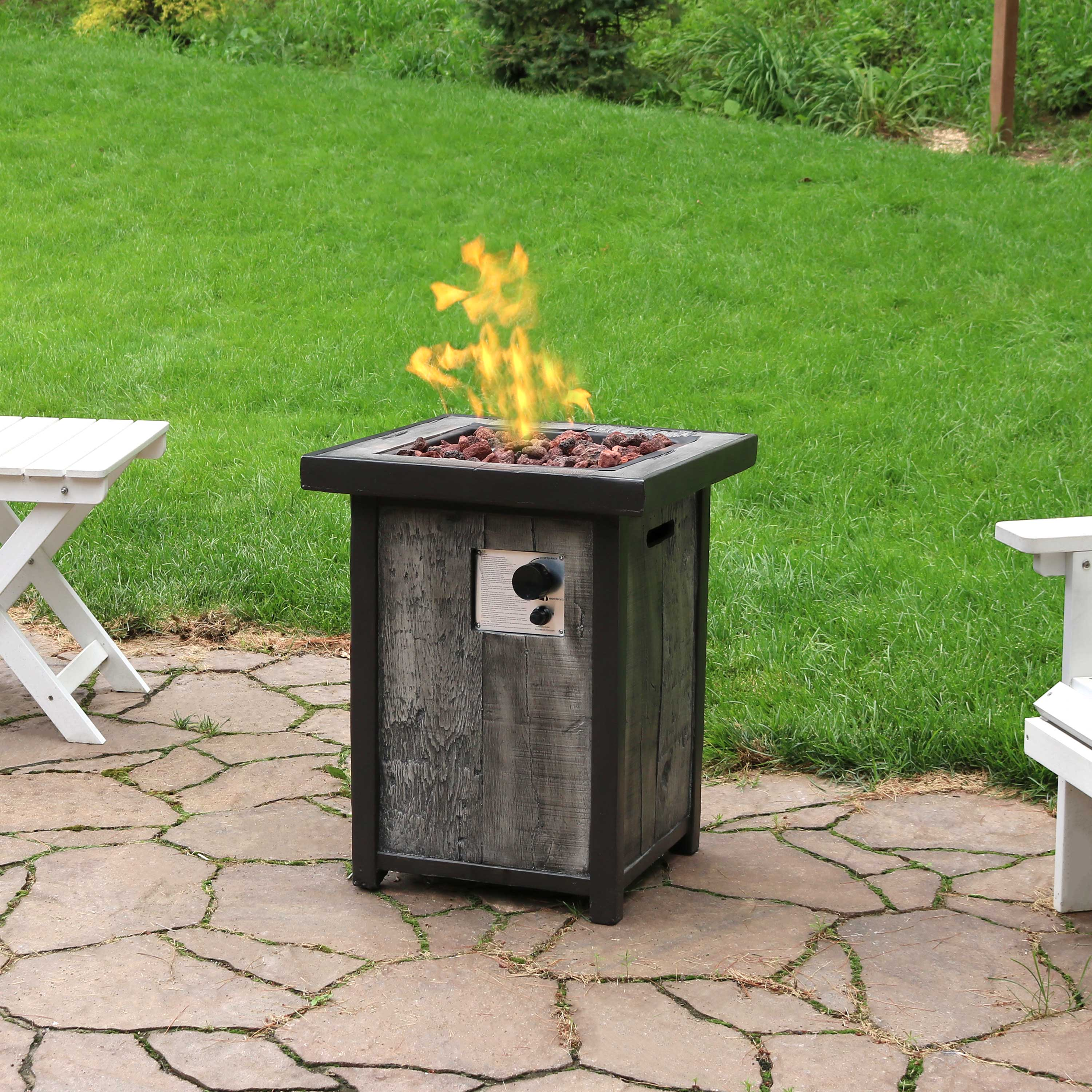 Sunnydaze Square Propane Gas Fire Pit Table with Weathered Wood Look - 24-Inch