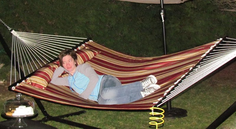 Red Quilted Hammock and Stand Set