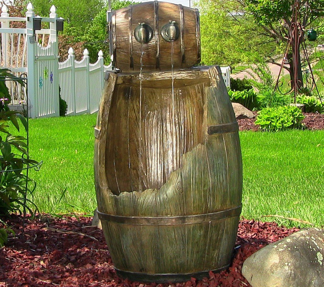 Old Time Saloon Barrel Outdoor Water Fountain